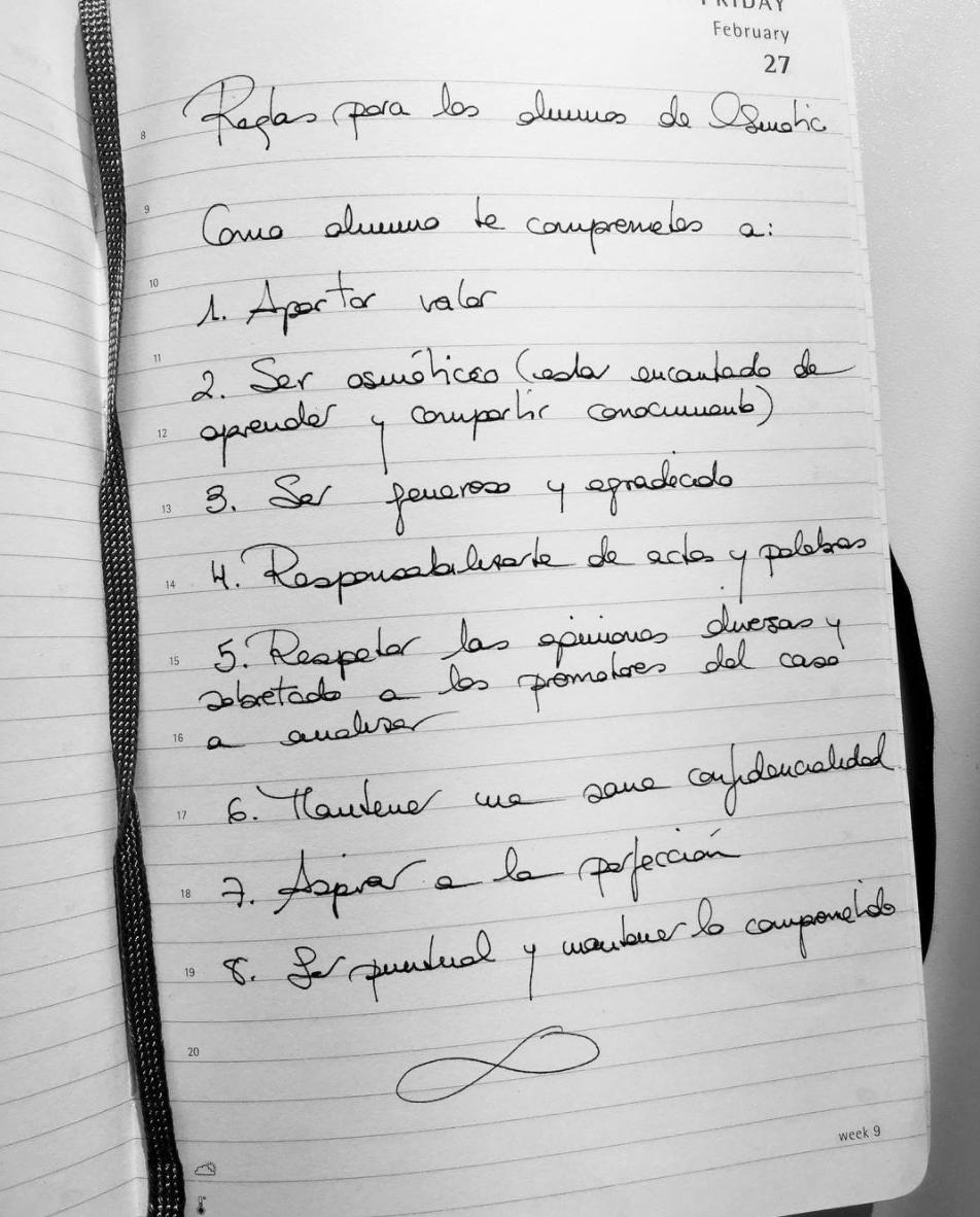 Reglas de los alumnos de Osmotic. #SoyOsmotic